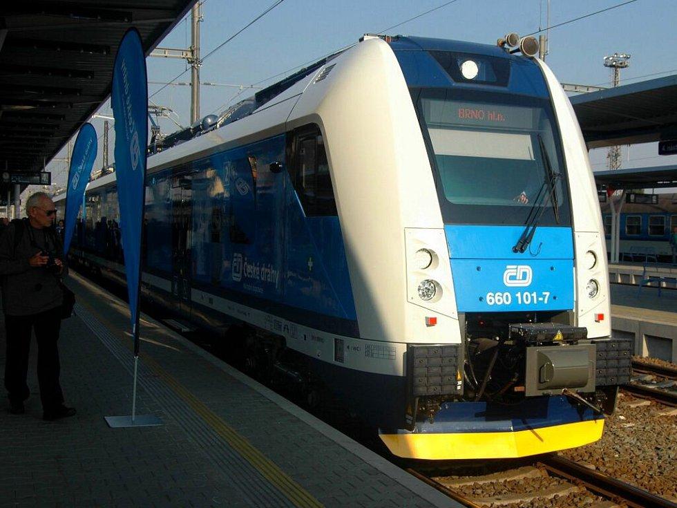 Souprava Českých drah InterPanter na olomouckém hlavním nádraží