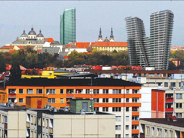 Olomouc a mrakodrapy. Ilustrační koláž