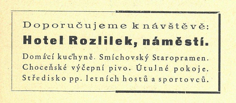 Dobová reklama, rok 1937