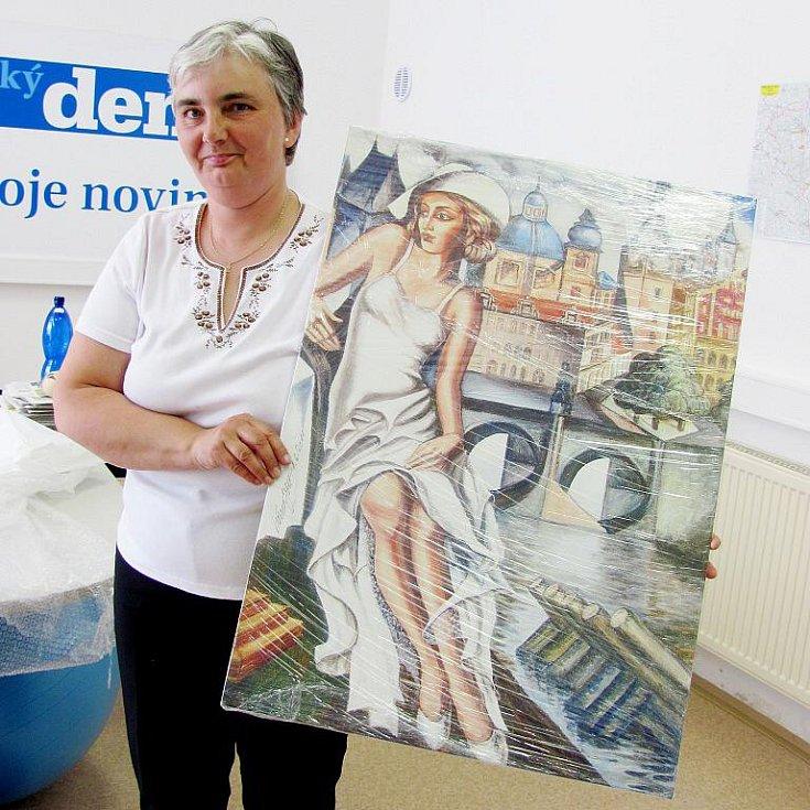 Krasava Šerkopová s reprodukcí Gottova obrazu.