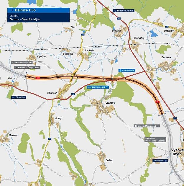 Zase okus delší. Dálnice D35, která jako severní alternativa kD1 propojí Prahu sMoravou, má pravomocné územní rozhodnutí kúseku kolem Vysokého Mýta a zatím nepravomocné kpředcházejícímu úseku zOstrova. Stavět se začne vroce 2022, oba úseky by měly