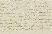 """První písemná zmínka o městě Králíky. Dokladem je zápis v zemských deskách z roku 1568, ve kterém se připomínají """"lidé z města Grulichu"""" (druhý řádek shora)."""