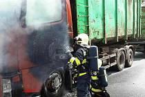Požár kabiny nákladního automobilu v Lanškrouně.