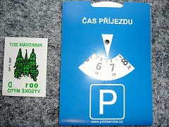 Parkovací karta s kotoučem.
