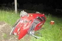 Havárie osobního automobilu v Třebovici.