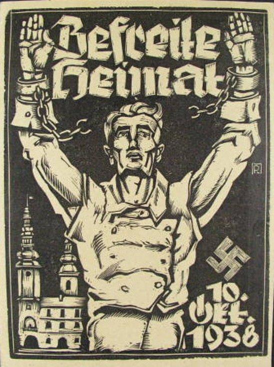"""Původní dřevořez Rudolfa Mathera vydaný k """"osvobození vlasti"""" 10. října 1938."""