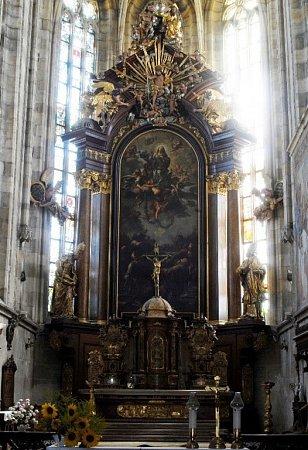 Oltářní obraz Petra Brandla vchrámu sv. Vavřince ve Vysokém Mýtě.