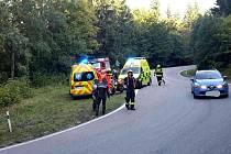 V neděli v dopoledních hodinách v serpentinách u Suchého vrchu směrem na Červenou Vodu havaroval řidič motocyklu.