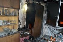 Následky požáru, který způsobila technická závada na televizoru.