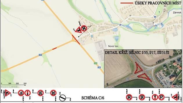 Práce na výstavbě kruhového objezdu u Zámrsku