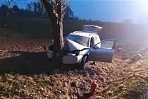 Ranní jízda skončila nárazem do stromu