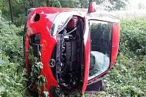 Havárie osobního automobilu ve Vysokém Mýtě.