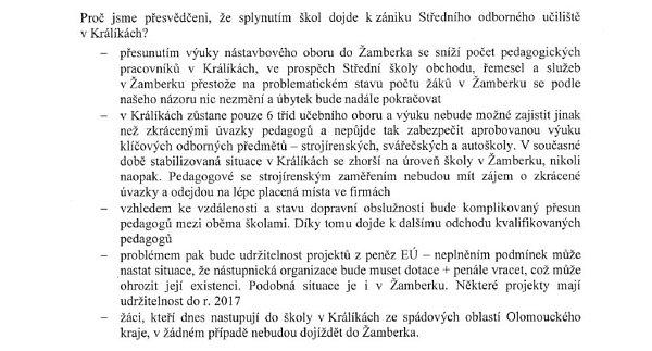 Otevřený dopis krajským zastupitelům.