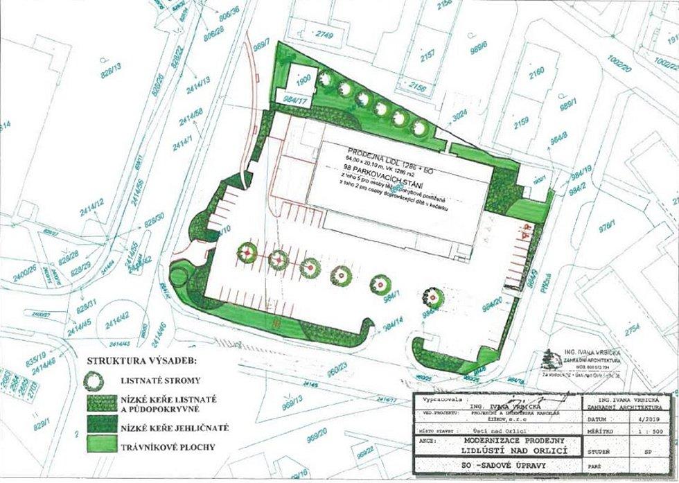Osazovací plán, který v prostoru rozšířeného parkoviště u Lidlu počítá s výstadbou šesti nových lip.