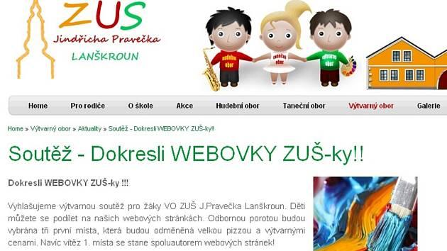 Web ZUŠ Jindřicha Pravečka Lanškroun.