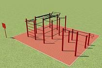 Vizualizace nového workoutového hřiště, které bude postaveno poblíž skateparku.