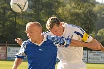 Hlavičkář. Tři ze čtyř gólů, které vstřelil Prachovicím, dal Rostislav Borek hlavou.