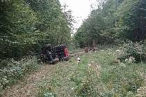 Převrácený traktor u obce Coktytle.