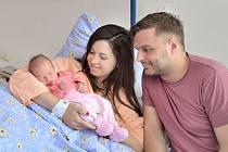 Sára Kopecká se narodila 11. 4. v 16.44 hodin, kdy vážila 3,190 kg. S rodiči Klárou a Tomášem bude doma v České Třebové.