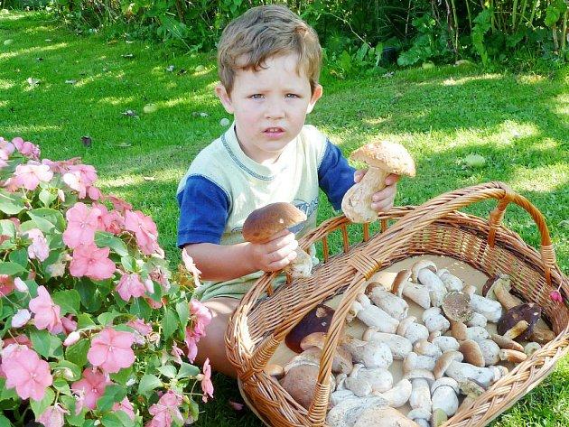 Vnuk Tomášek, který dva velké hříbky našel sám.