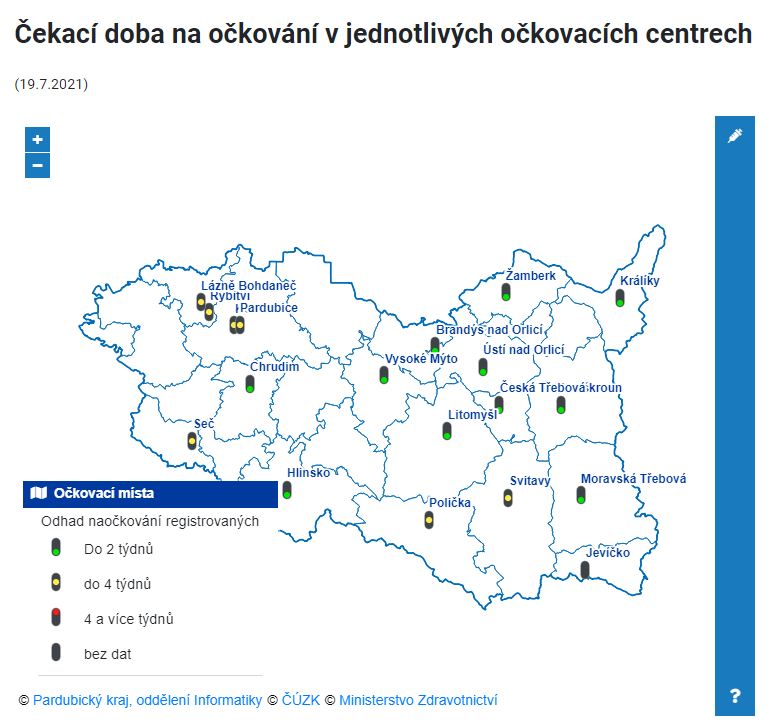 Čekací doby ve vakcinačních centrech kraje k 19. červenci