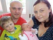 Eliška Krausová se narodila s váhou 3702 g dne 10. 5. v 18.53 hodin. Doma v Letohradě bude těšit rodiče Evu a Pavla i bratříčka Šimůnka.