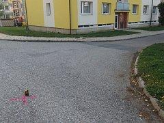 Z místa dopravní nehody v Červené Vodě.