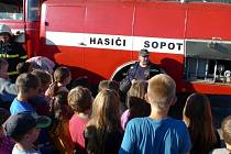 Cvičný poplach v Základní škole Sopotnice.