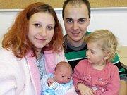 Dominik Schneider bude po Vanesce těšit rodiče Janu a Reného z Dlouhé Třebové. Narodil se s váhou 2698 g dne 3. 12. v 12.20 hodin.
