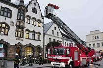 Cvičný požár na Městském úřadu v Lanškrouně.