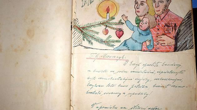 """V Králíkách ukázali Deníky, do kterých maloval četař Arnošt Hrad úzce spjatý se srubem K-S 14 """"U cihelny"""" v Králíkách."""
