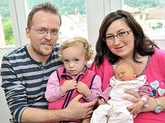 Nikol Šmídová se narodila 11. července v 18.27 hodin s hmotností 2,88 kg. Z holčičky se radují rodiče Dagmar a Tomáš i sestra Esterka z Bystřece.