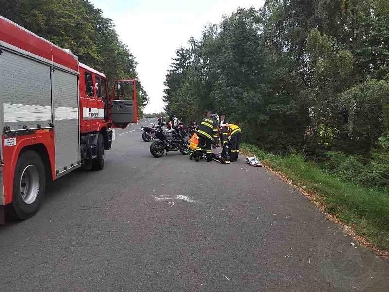 Nehoda motorkáře na Lanškrounsku.