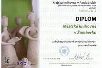 Diplom pro Městskou knihovnu Žamberk.