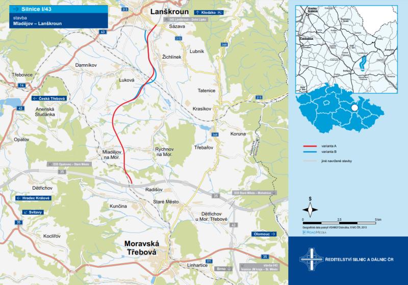 Uvažované trasy dvouproudé přeložky I/43 z Mladějova do Lanškrouna