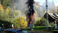 Požár trafostanice v Liticích.