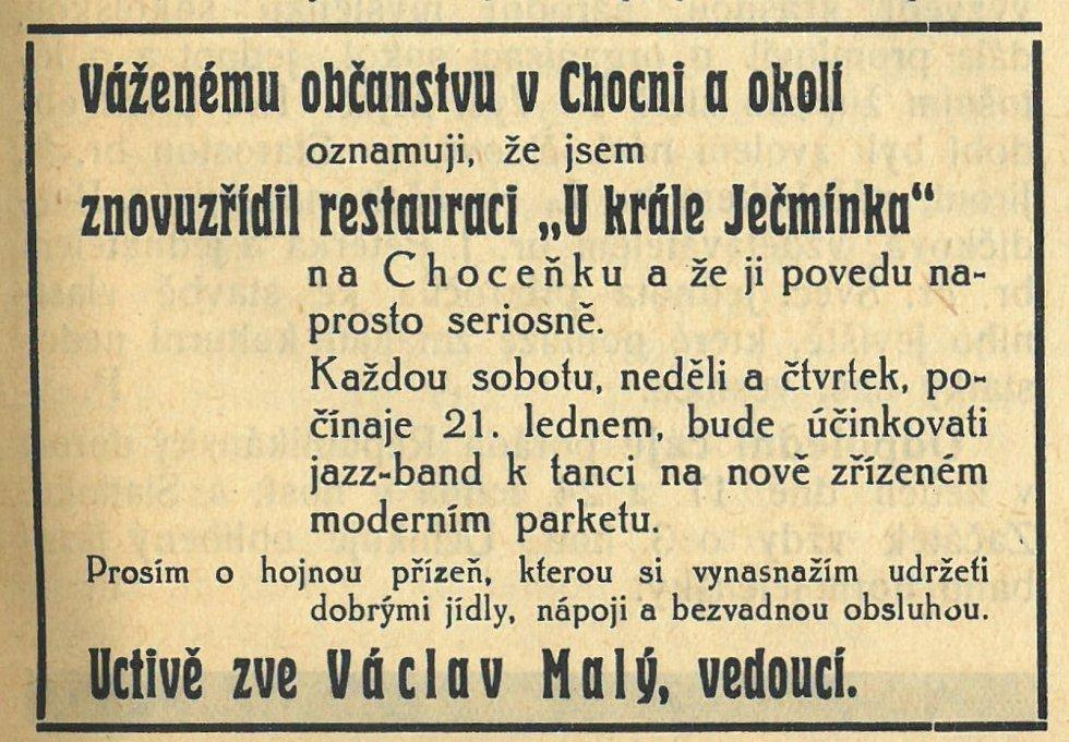 Dobový inzerát z počátku roku 1938,  hostinec U krále Ječmínka.