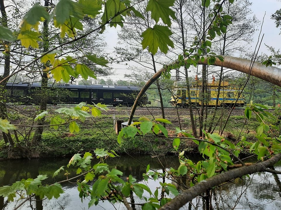 Oprava stržené troleje v Brandýse nad Orlicí