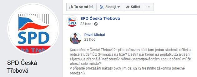 Dotyčný post na sociální síti Facebook