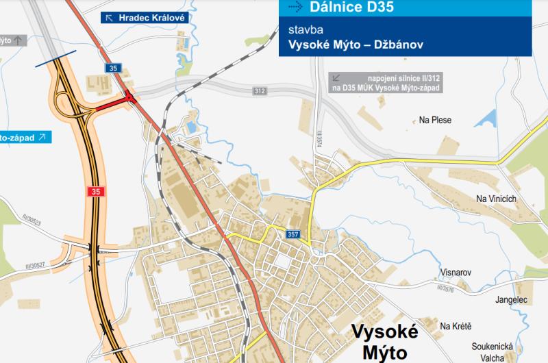 Trasa D35 a navazujícího přivaděče kolem Vysokého Mýta