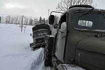 Zimní prověrky automobilové techniky Vojenského muzea Králíky.