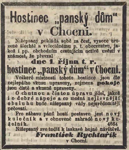 Dobový inzerát, Panský dům, Národní listy z1. října 1869, Foto: Orlické muzeum Choceň