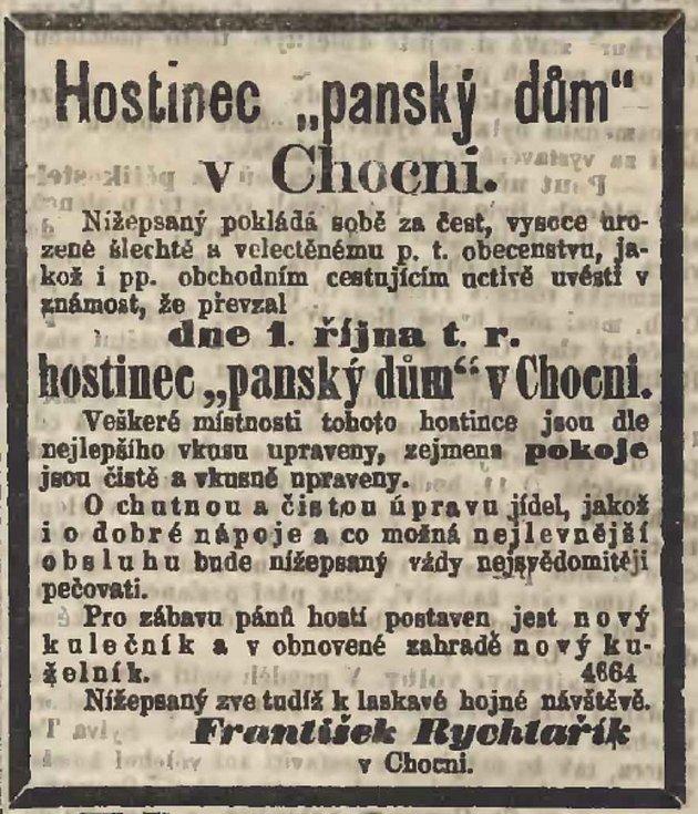 Dobový inzerát, Panský dům, Národní listy z 1. října 1869, Foto: Orlické muzeum Choceň