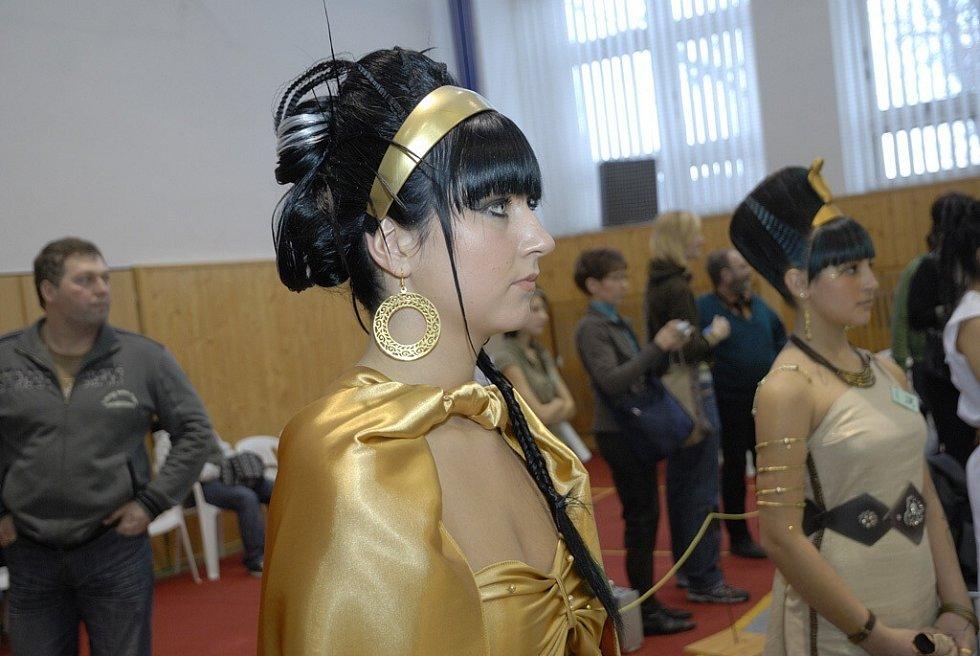"""Ve vlasové tvorbě soutěžilo třiatřicet kadeřníků a kadeřnic, kteří tvořili na téma """"Egypt""""."""