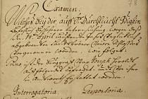 List z výslechu o příčině požáru zámku v roce 1714, který je uložen ve vídeňském archivu.