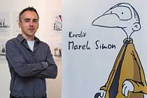 Kreslíř Deníku Marek Simon se svou kreslenou postavičkou.