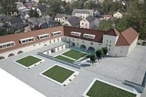 Vizualizace projektu rekonstrukce areálu Českých vinařských závodů.