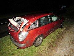 Havárie osobního automobilu u obce Rozsocha.