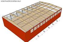 Vizualizace nového konstrukčního řešení střechy.