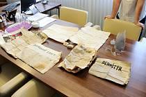 Choceňská věž vydala cenné dokumenty - čtvery noviny z let 1883 a 1884, tři svaté obrázky a dva dopisy.